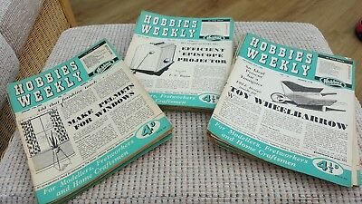 HOBBIES WEEKLY MAGAZINES bundle from 1956 - 39 Magazines, 18 design plans