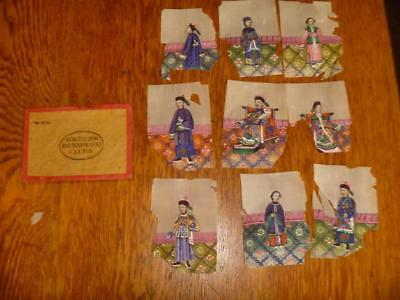 9 antique Wing Tai Hing pith or rice paper paintings with part of box, 1850-1900