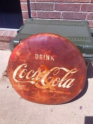 1940s Coca Cola Metal Button or Sign  24 inch
