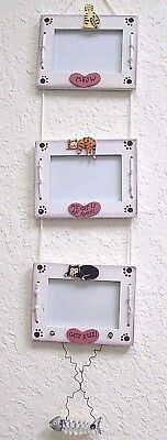Cat Picture Photo Frame Painted Wood Wall Hanging White Paw Print Meow Cats Rule