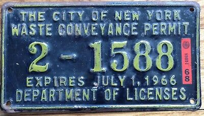 New York  City Waste Conveyance Permit Iicense Plate 1966