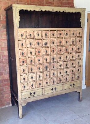 Antique Chinese 20thC Apothecary Cabinet Large Elm Industrial Medicine Herb Shop