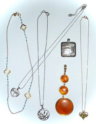Lot 6 Necklaces/Lpendants - Kenneth Cole, Sha, Cool Jewels, Ns-Gold/Jade, India