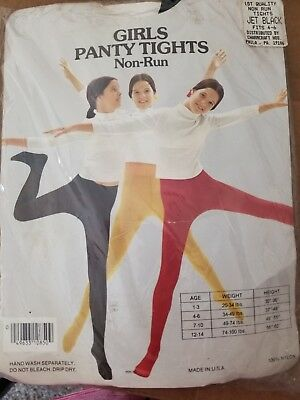 Vintage Girl's Non Run Panty Tights Jet Black Fits 4-6 by Charmcraft Hosiery