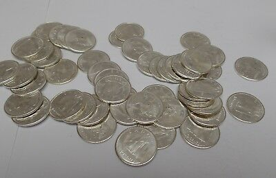 1965 Canadian silver Dime Roll (49) Uncirculated