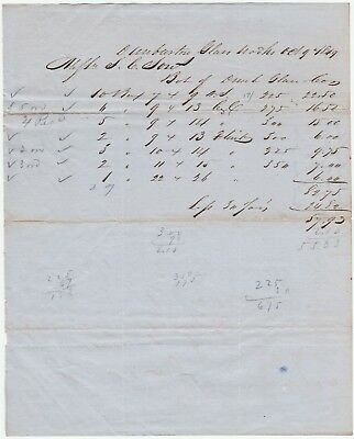 RARE Manuscript Receipt Billhead- Dunbarton Glass Works 1849 Vernon NY - Bottles