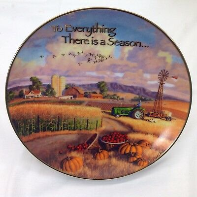 To Everything There is Season Plate Harvest Tractor Farm Fall Vtg Franklin Mint