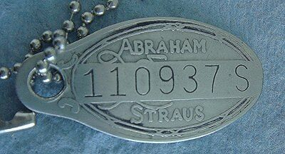 Vintage Charge Plate Coin Tag: ABRAHAM & STRAUSS; Iconic Dept Store BROOKLYN NY