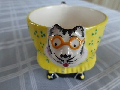 Tom Hatton Cat Coffee Tea Cup-Female Catwith Glasses Signed