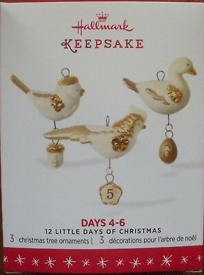 Hallmark 2016 Miniature Ornaments - 12 Little Days of Christmas - Days 4-6 - NEW