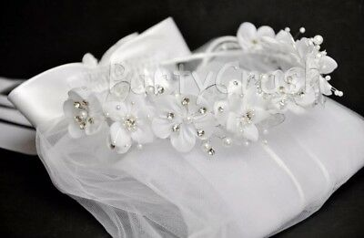 Girls White Veil First Communion Flower Beads Rhinestones Tiara Crown
