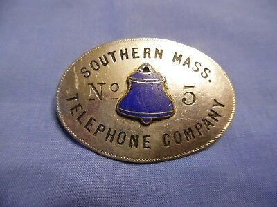 1 Old Antique Southern Mass Telephone Company Badge No 5 Bell