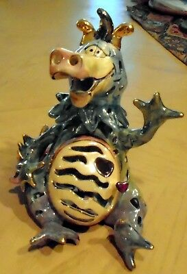Blue Sky Clayworks Heather Goldminc Luster Dragon Tea Light Candle Holder