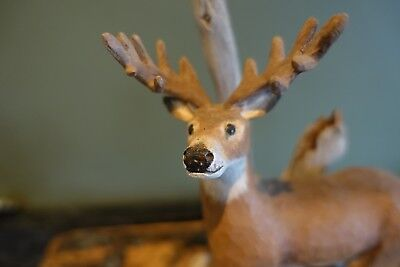 Rare Vintage Wood Carving A Deer By Stan Sparre Cape Cod