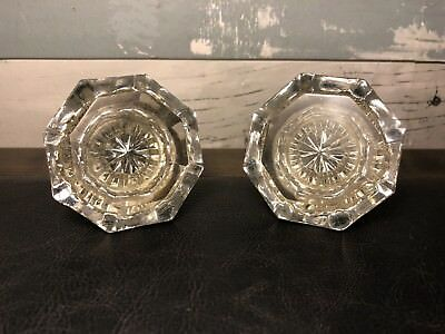 Pair of Antique Glass Door Knobs Vintage Victorian Glass & Brass Door Knobs