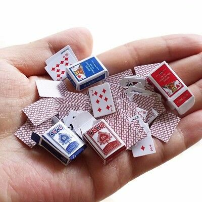 1 Set 1:12 Miniature Dollhouse Cute Mini Poker Model Playing Cards Accessory