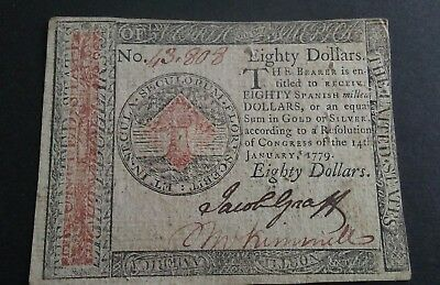 Rare/Unique $80.00 Continental Currency 14 January, 1779 ( slight blemish )
