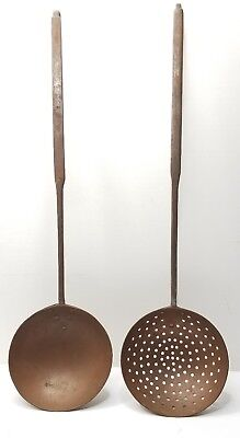 Antique Wrought Iron & Copper Hearth Ladle & Skimmer Oversized 24""