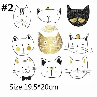 Cats Patches T-shirt Press Heat Transfer Sticker Washable Iron On Appliques