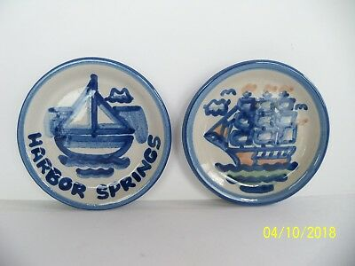 "2 M.A. Hadley Pottery COASTERS Plate 4.25""  Harbor Springs and Sailboat, Ship"