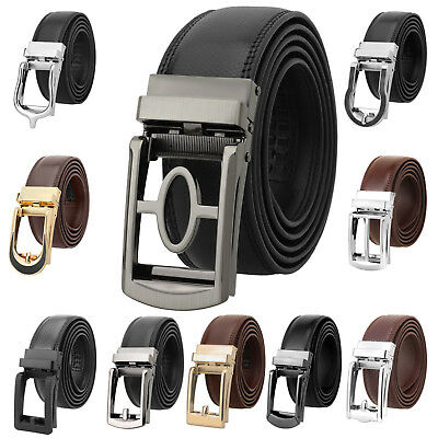 Falari Men Genuine Leather Dress Click Ratchet Belt 35mm Adjustable Size to 44