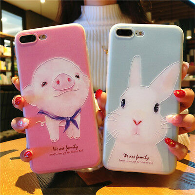 promo code a1574 86f9c FOR IPHONE XS Max 5 8 Plus 3D Kawaii Cartoon Rabbit Pig Shockproof Silicone  Case