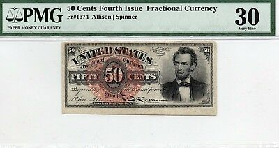 50 Cent Fractional Currency Fourth Issue FR 1374 : PMG 30