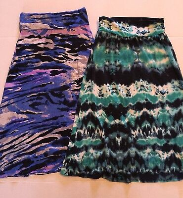 Girls Medium/8 Long Skirt LOT Of 2 Spring MultiColored Justice and JoeyB