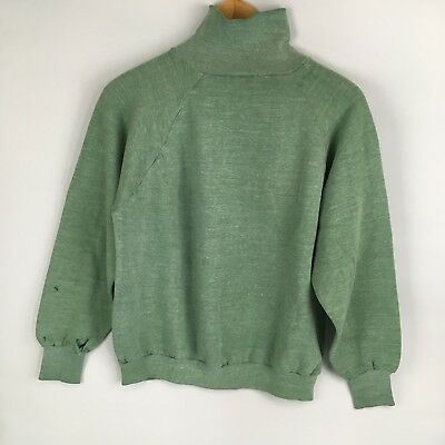 VTG 80s S M Thin Worn Trashed Soft Turtleneck Sweatshirt Blank Plain Mint Green