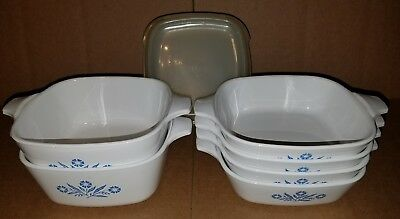 Vintage Lot of 6 Corning Ware Blue Cornflower Pan Casserole P-41-B / P-43-B Lids