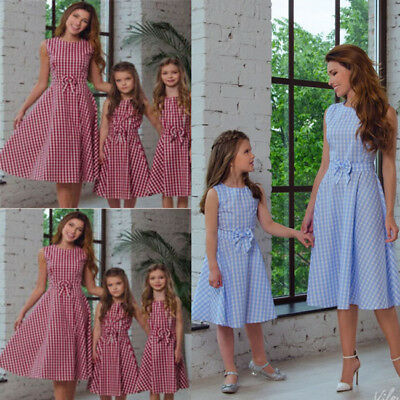 CA Mother Daughter Family Matching Clothes Mom Plaid Kids Sleeveless Maxi Dress