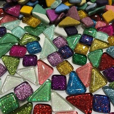120g Mixed Colour Crystal Glass Irregular Mosaic Tiles DIY Art Craft Supplies