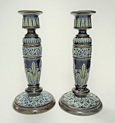 Antique Pair of ROYAL DOULTON LAMBETH Stoneware Candlesticks Signed circa 1892