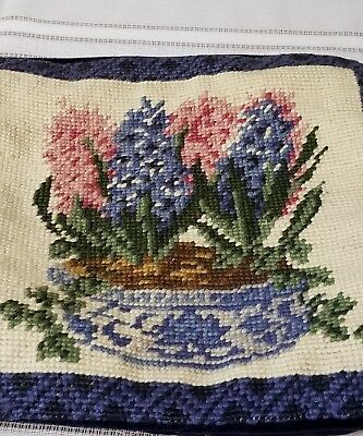 Vintage Needlepoint ~ Chair Cover~ Pillow~Floral Basket~9
