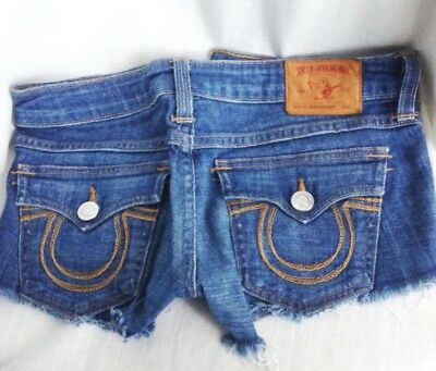 True Religion Jean Shorts Ladies 27 26 Short Denim Flap Daisy Dukes