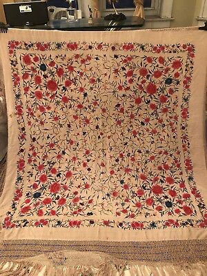 Antique Chinese Canton Embroidered Silk Spanish Piano Shawl Embroidery Heavy L-3
