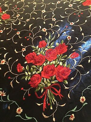 Antique Vintage Canton Embroidered Silk Spanish Piano Shawl Embroidery M-2