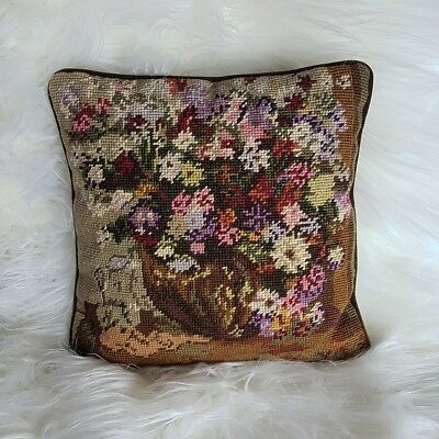 Vintage Handmade Finished Wool Crewel & Needlepoint Floral Basket Accent Pillow