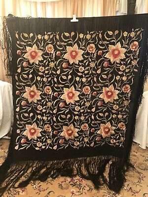 Antique Vintage Canton Embroidered Silk Spanish Piano Shawl Embroidery M-6