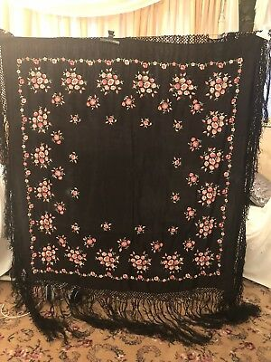 Antique Vintage Canton Embroidered Silk Spanish Piano Shawl Embroidery M-8