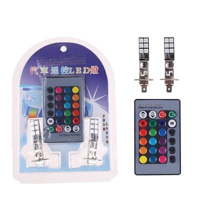 2pcs H1 5050 RGB LED 12 SMD Car Headlight Fog Light Bulb + Remote Control 12V CA
