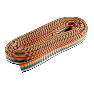 5M 10 Pin Rainbow Color Flat Ribbon Cable IDC Wire Rainbow Cable New