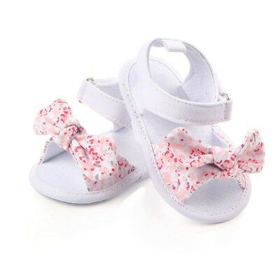 US Infant Baby Girl Soft Sole Crib Shoes Newborn Princess Bowknot Summer Sandals