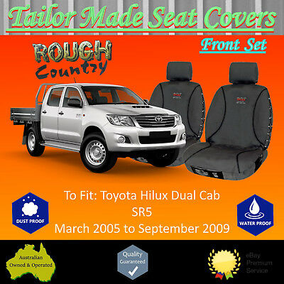 100% Canvas Front Pair Seat Covers for Toyota Hilux Dual Cab; 03/2005 - 09/2009