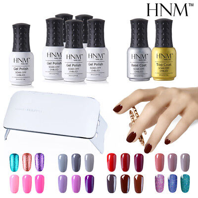 HNM Gel Nail Polish Set + Top Base Coat + SUNmini3 UV LED Nail Lamp Starter Kits