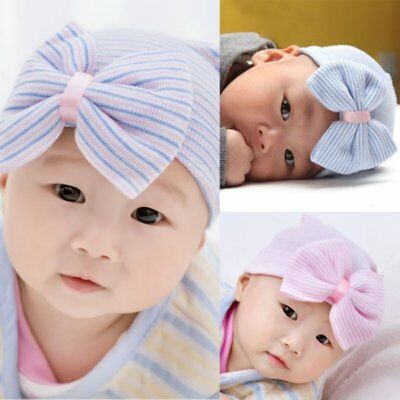 USA Newborn Baby Infant Girls Toddler Comfy Bowknot Hospital Striped Bow Cap Hat