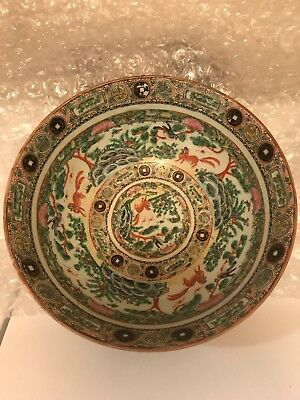 Large Antique Chinese Famille Rose Porcelain Bowl 13''