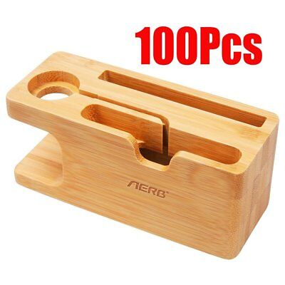 100Pcs Bamboo Wood Phone Watch Charging Stand Docking Station for iPhone iWatch