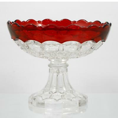 EAPG Ruby Stained Hexagonal Block Open Compote Antique Glass Hobbs No 335 1880s