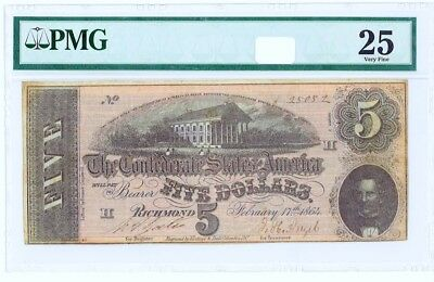 CSA 1864 PMG 25 Confederate Currency T69 $5 Note Capital Richmond pp H Series 8